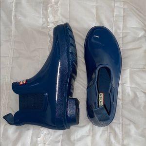 blue ankle high hunter rain boots